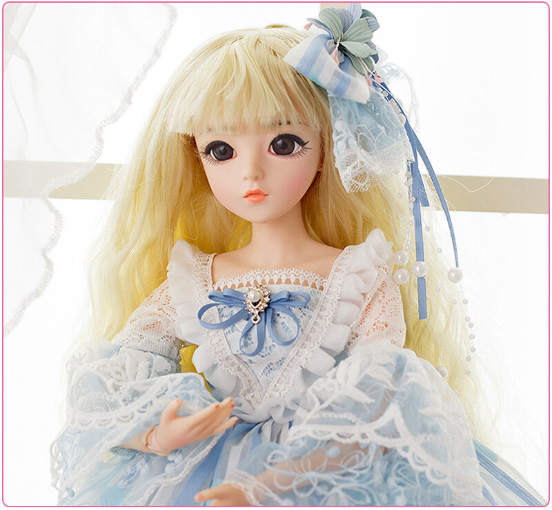 1 3 Mini BJD Dolls 24'' Little Girl Doll Body FREE FACE MAKE UP EYES + Clothes