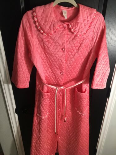 House Dress Quilted Night Gown Pink 3/4 Sleeve Siz