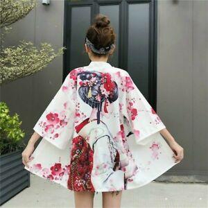 Women Kimono Coat Japanese Jacket Cardigan Printed Outwear Vintage Harajuku