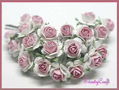 100 White & Pink Mulberry Paper Rose Flower handmade size 1.5 cm. Wedding