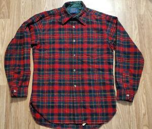 Vtg-Pendleton-Long-Sleeve-Mens-Flannel-Shirt-100-Virgin-Wool-red-Size-Medium