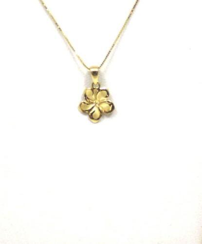 9MM SOLID 14K YELLOW GOLD HAWAIIAN FANCY TROPICAL PLUMERIA FLOWER CHARM PENDANT