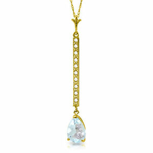 Genuine-Aquamarine-Pear-Gemstone-amp-Diamonds-Bar-Pendant-Necklace-14K-Solid-Gold