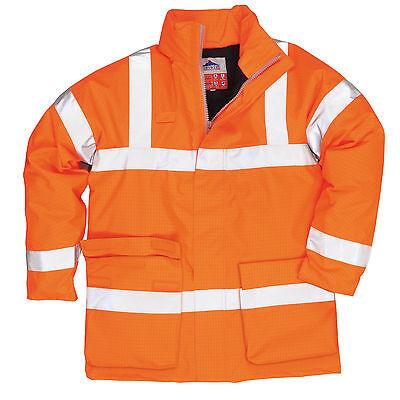 Portwest Bizflame Lined Antistatic Flame Resist HI VIS Jacket Hood S - 3XL S778