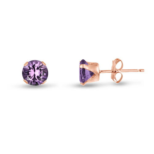 Genuine Round Purple Amethyst Rose Gold Plated Silver Stud Earrings February
