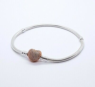 pandora silver bracelet with rose gold heart clasp