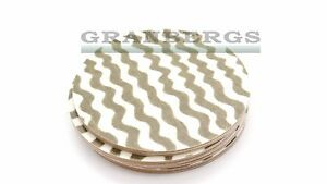 Iris Hantverk Coaster Round 4pc Beige 2894-03 Bolja Wave Birchwood Swedish Made