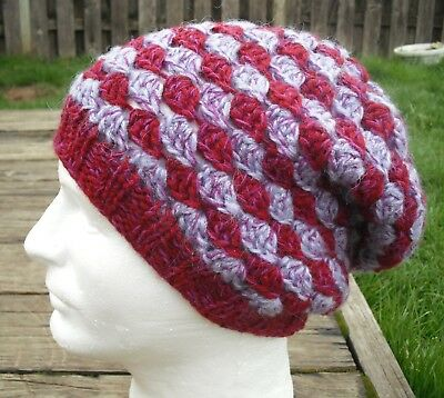 Funky Purple/Violet Shades Large Knitted/Crocheted Beanie - Handmade by Michaela