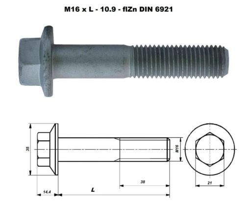 M16 METRIC COARSE PITCH FLANGE BOLT AND//OR NUTS HIGH TENSILE GRADE 10.9 GEOMET