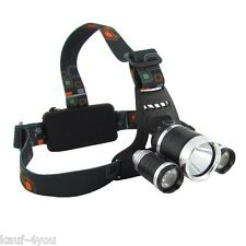 Kopflampe Stirnlampe 3 x Cree T6 LED Headlamp 360 Lumen