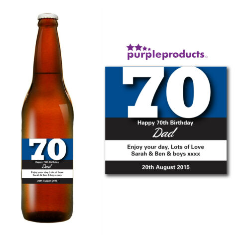 CHAMPAGNE or BEER//CIDER BOTTLE LABEL PERSONALISED 70th BIRTHDAY WINE