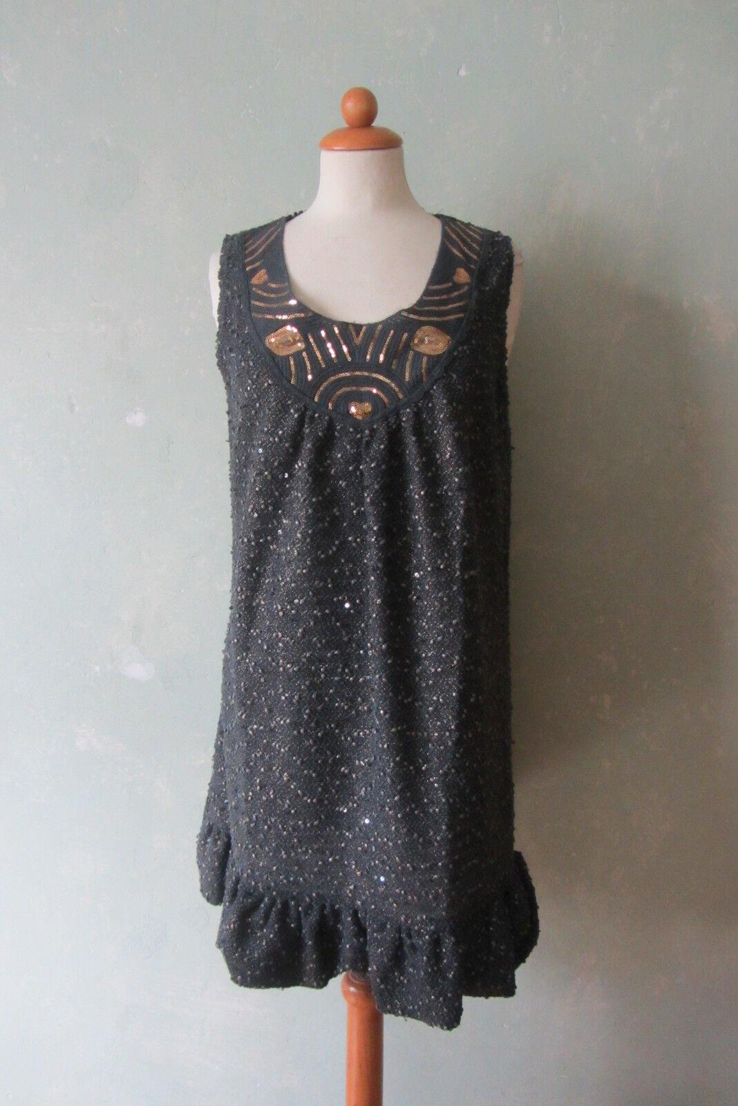YUMI   Kleid Minikleid grau  Pailletten toller Ausschnitt Gr.  38 M   40 L (90)