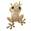 Beautiful Crystal Frog Brooch Silver or Gold Tone