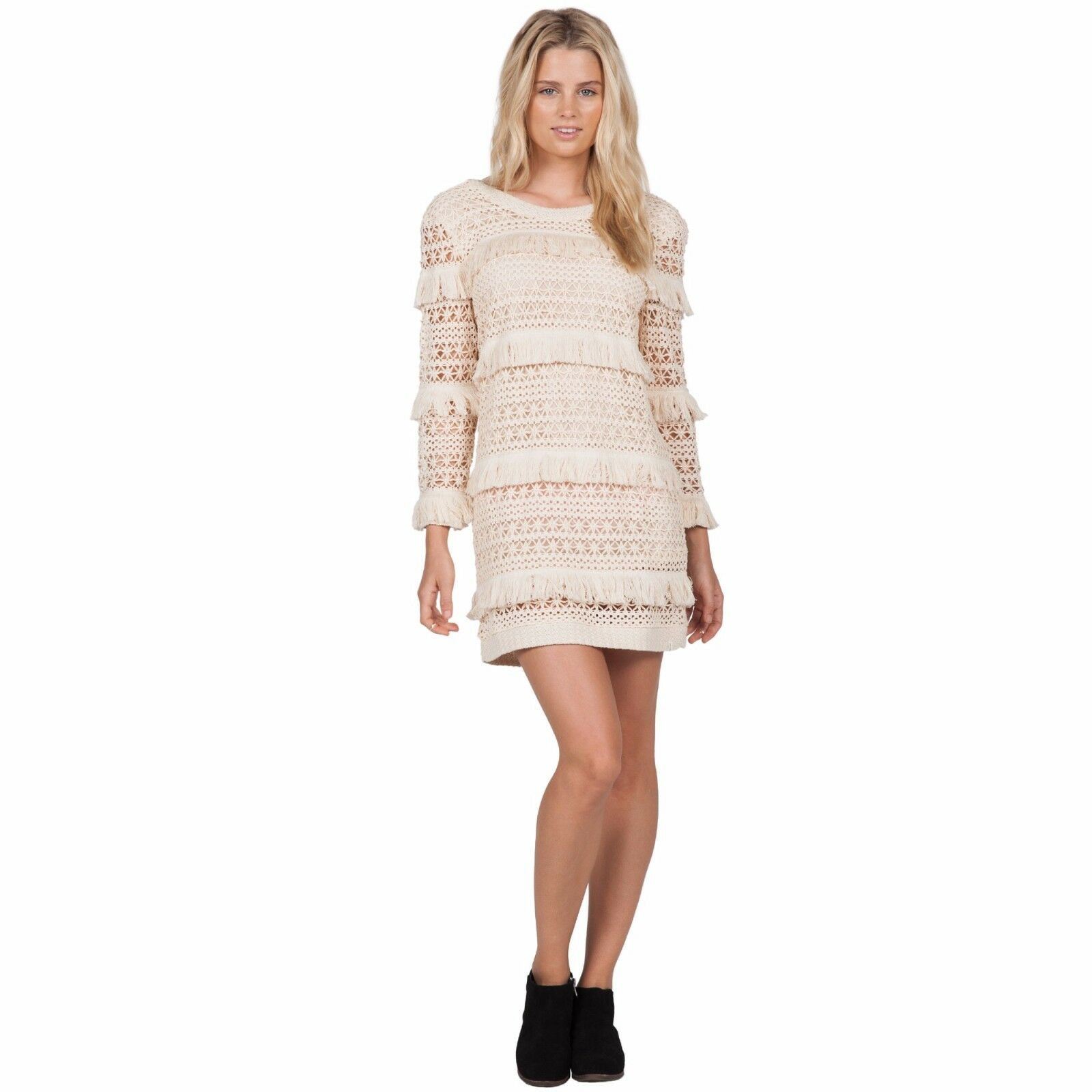 2016 NWT WOMENS VOLCOM COCOKNIT DRESS  S vintage white sweater dress fringe