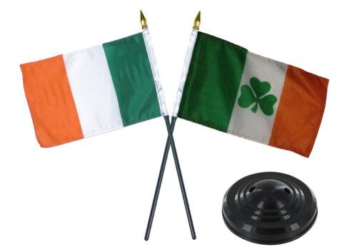 """Ireland Irish w// Irish Shamrock Flag 4/""""x6/"""" Desk Set Table Stick Black Base"""