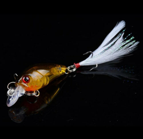 5PCS Fishing Lures Bass Crankbaits with Feathers Hooks Tackle Minnow Hard Lure