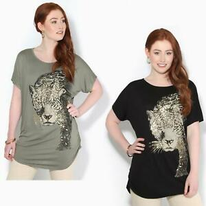 Womens-Loose-Batwing-T-Shirt-Ladies-Animal-Tunic-Blouse-Oversized-Long-Line-Top