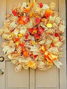 X-Large-30-034-Fall-Autumn-Deco-Mesh-Wreath-amp-All-Occasion-Jute-Burlap-Door-Decor