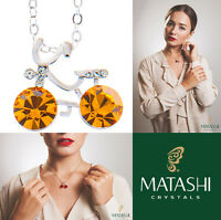 16 Rhodium Plated Necklace W/ Bicycle & Yellow Crystals By Matashi on sale