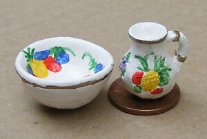 1-12-Scale-Multi-Coloured-Fruit-Motif-Jug-amp-Bowl-Tumdee-Dolls-House-Kitchen-1791