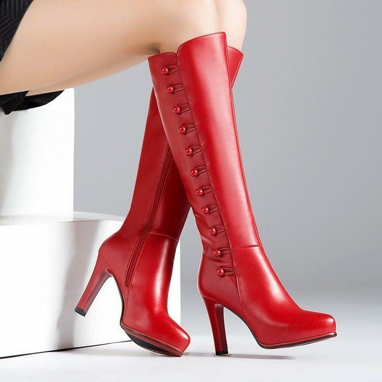 Women's Knee High Boots Stiletto Pointed Toe Side Zipper High Heels Sexy shoes