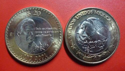 MEXICO COMM KM638 UNC 2001 BIMETALLIC COIN 20 Pesos Octavio Paz