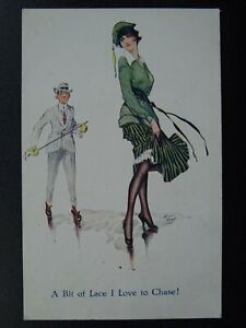 Glamour & Beauty A BIT OF LACE I LOVE TO CHASE c1920s Postcard Chic Series