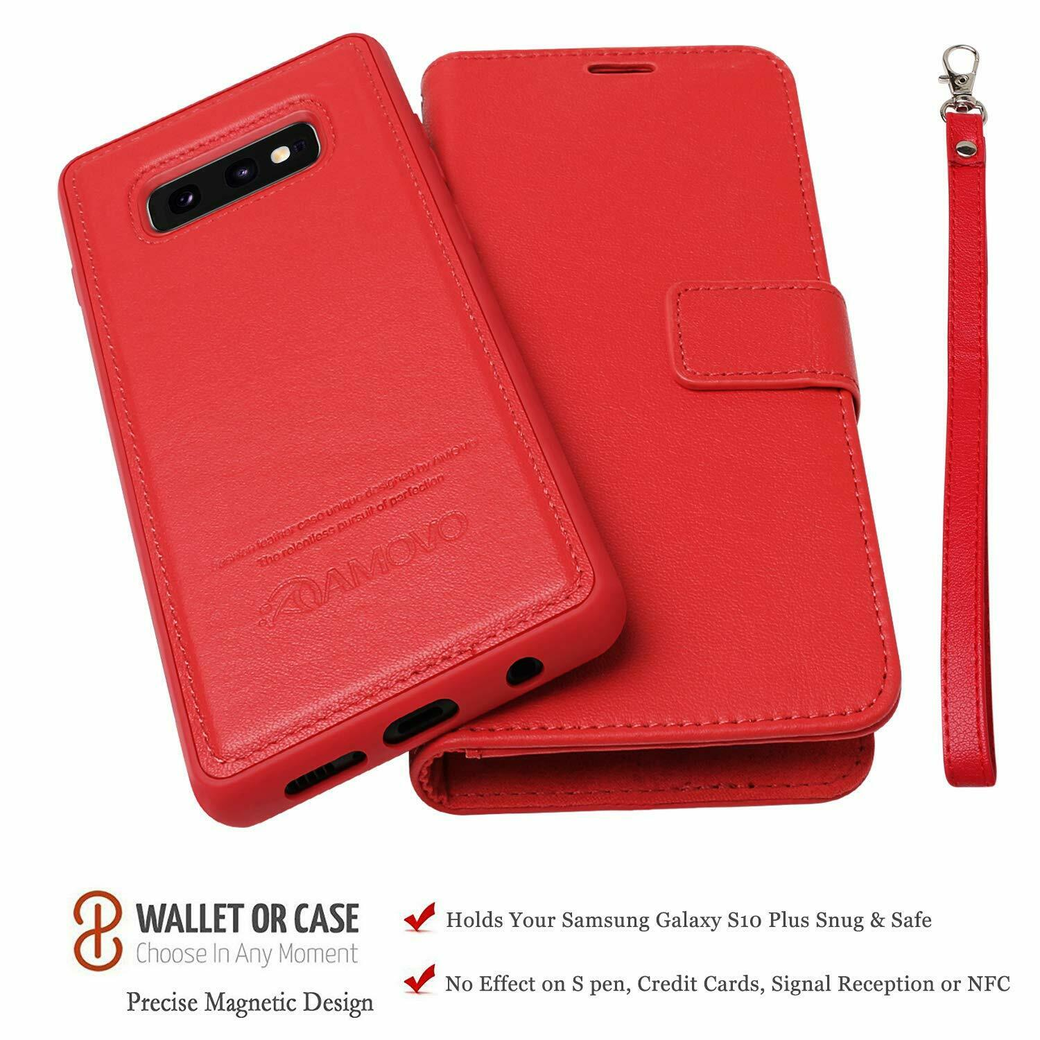 Leather Cover Compatible with Samsung Galaxy S10e Extra-Shockproof red Wallet Case for Samsung Galaxy S10e