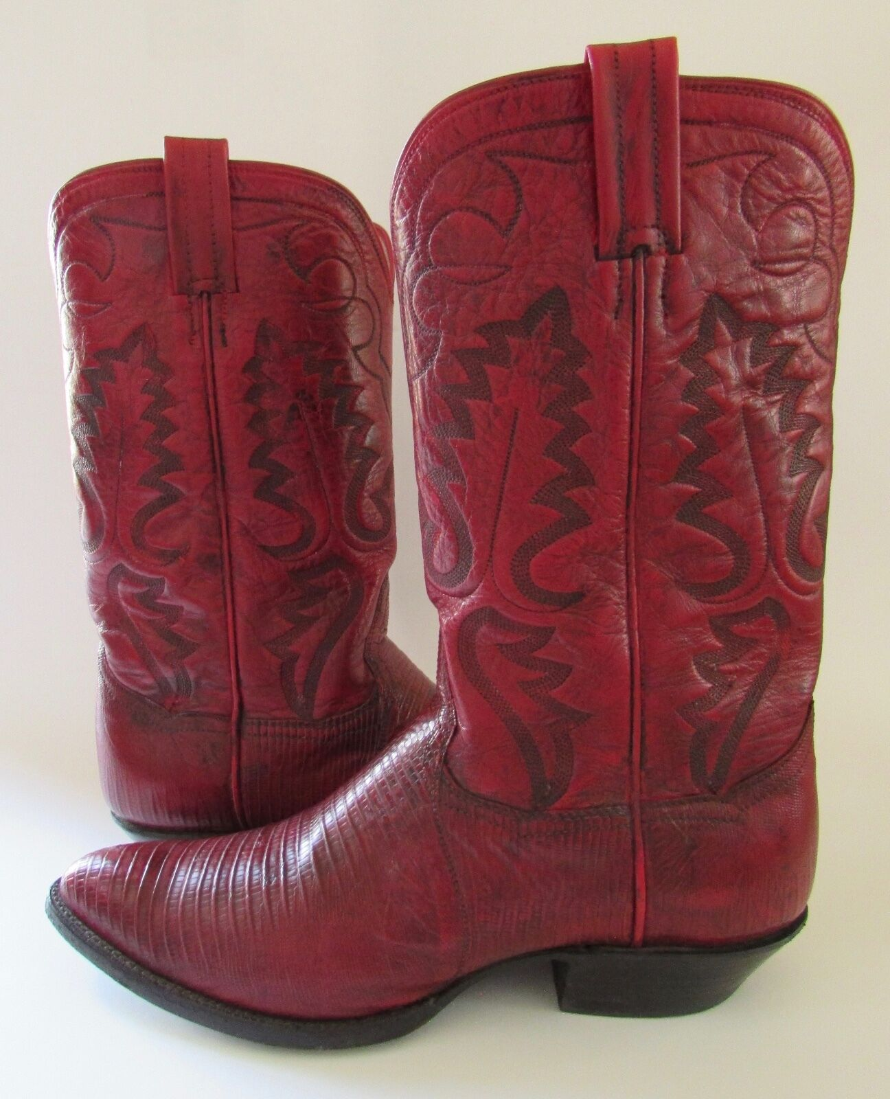 Panhandle Slim Red Leather Western Cowboy Boots 8.5 B