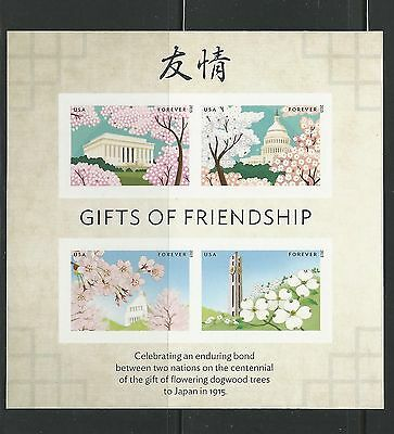 "JAPAN-USA ""GIFTS OF FRIENDSHIP"" S/A PERFORATED BLOCK MNH"