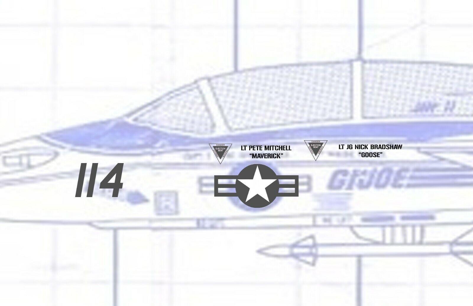 1//18 Scale GI Joe Skystriker Topgun Maverick F-14 Tomcat Waterslide Decals