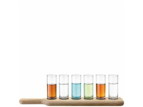 LSA Paddle Wodka klar mit Servierbrett Schnapsgläser auf Holzbrett