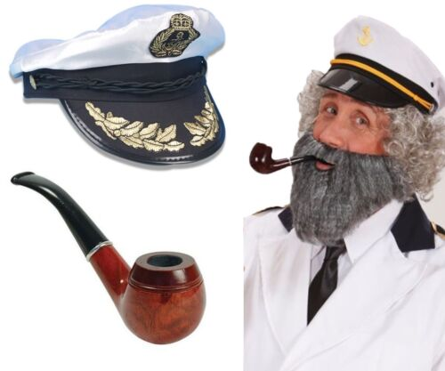 Adult MenCaptain Birds Eye Sailor Adult Hat Cap /& Pipe Stag Set Fancy Dress Kit