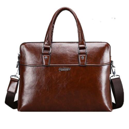 Fashion Briefcase Laptop Bag Men Leather Business Messenger Shoulder Bag