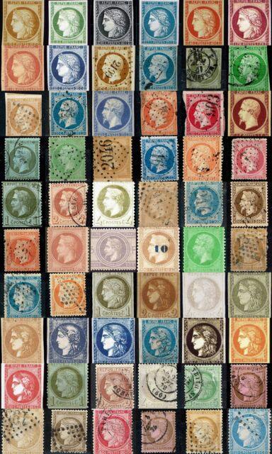Timbres 1849 à 1871. Du N°1 au N°60. Cérès, Napoléon...  oblitérés ou non...
