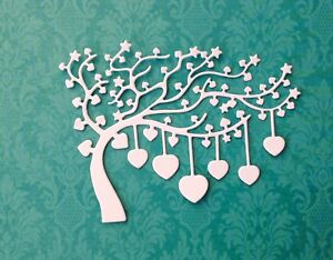 Small Heart Tree Die-cuts pack of 8 - White