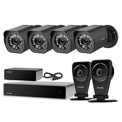 Zmodo 1080P 8CH NVR 4 PoE+2 Wireless Audio Camera Security System 1TB w/Repeater