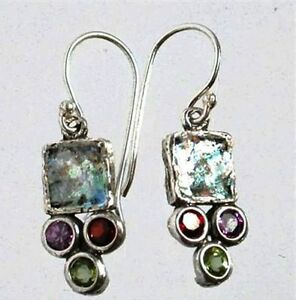 Roman-glass-earrings-garnet-amethyst-peridot-Israeli-jewelry-verre-romain