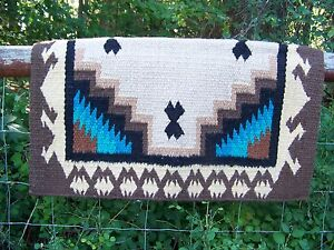 Haymaker Show Blanket - 38x34 (Chocolate Base/Earth and Teal Accents) by Mayatex
