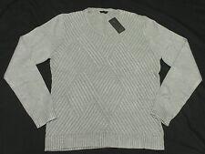 $89 NWT NEW Mens Guess Luke Crosshatch Weave V-Neck Sweater Stone Grey Sz L M539
