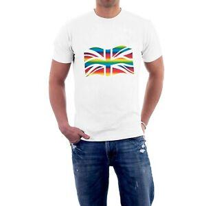 Fluttering Union Jack T-shirt SOFT RAINBOW Flag Gay Pride Eurovision LGBTQ+