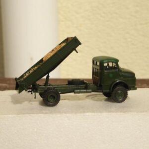 Brekina-MB-Mercedes-rundhauber-MEILLER-cassoni-ribaltabili-con-carico-verde-militare-ridipinta