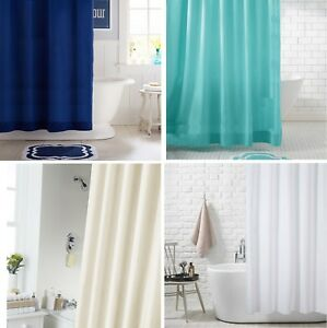 Extra Long Fabric Shower Curtain Waterproof With Hooks Weighted Hem