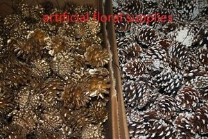 10x-wired-pine-cones-SNOWY-GOLD-christmas-wreath-tree-table-decoration-crafts