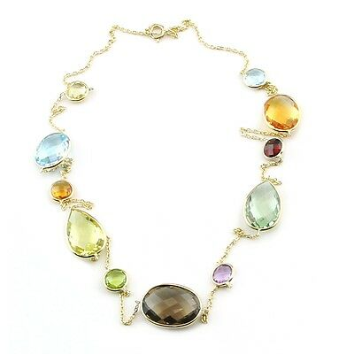 14K Yellow Gold Necklace With Round, Oval And Pear Shaped Gemstones 20 Inches