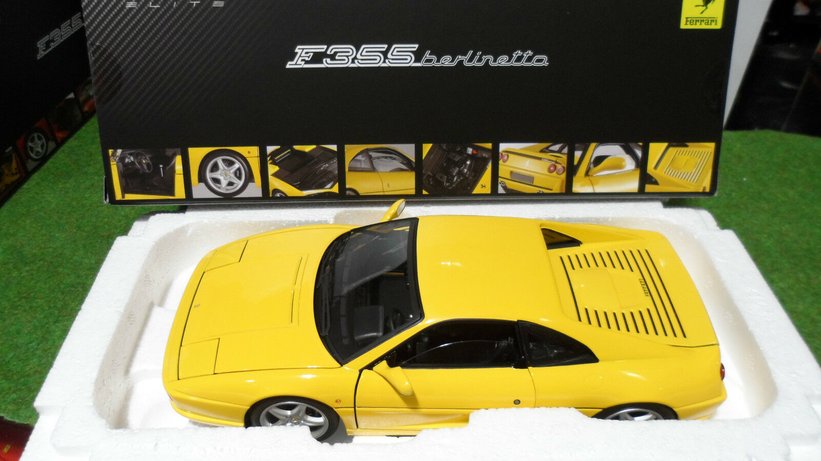 FERRARI F355 BERLINETTA amarillo au 1 18 d ELITE HOT WHEELS X5479 voiture miniature