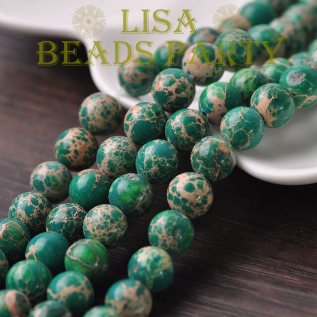 100pcs 4mm Round Natural Stone Loose Gemstone Beads Green Imperial Jasper