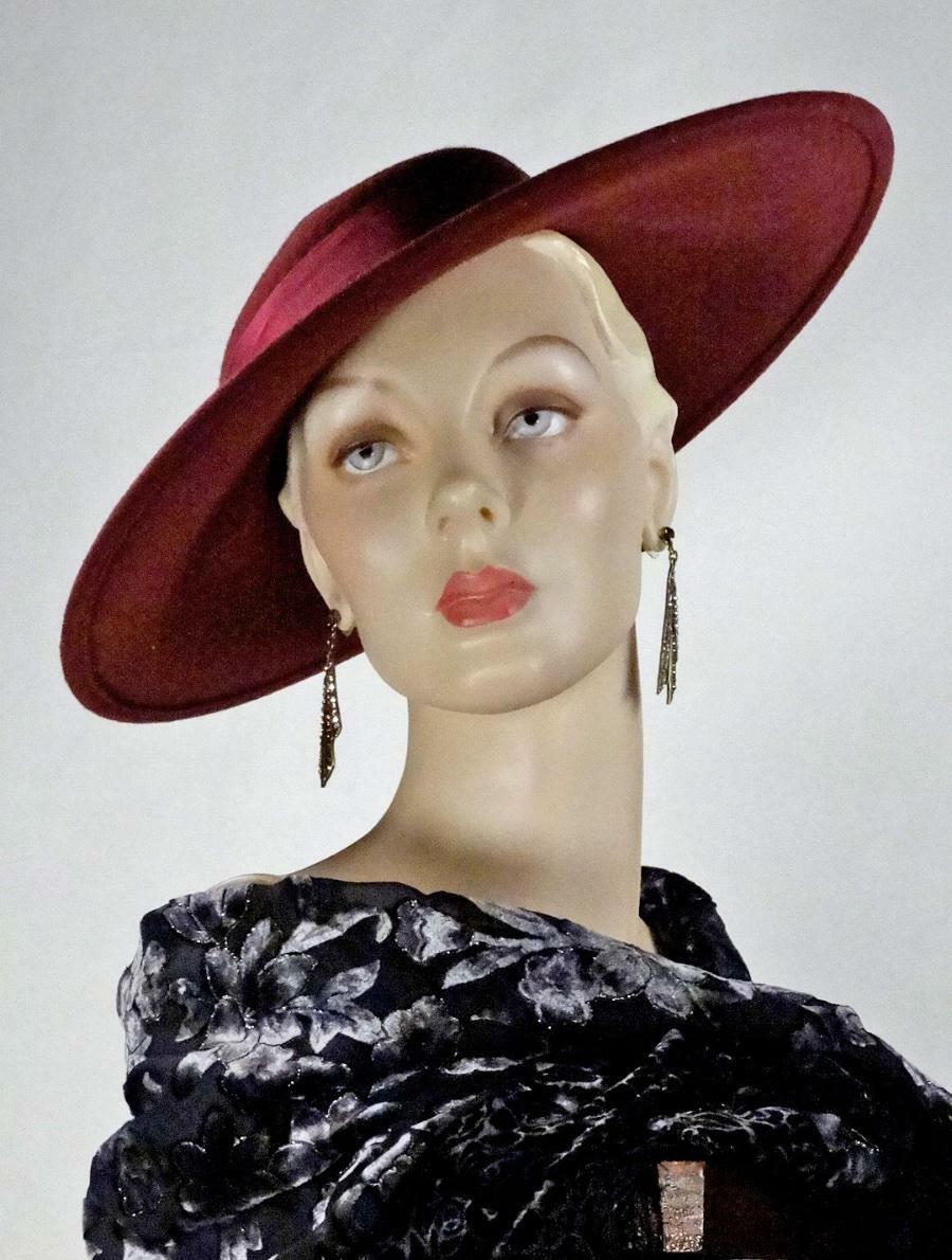 1930s 1940s Style Platter Hat Burgundy Wool Wide … - image 8