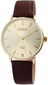 Akzent-Herrenuhr-Gold-Braun-Analog-Metall-Kunst-Leder-Armbanduhr-X2900120004