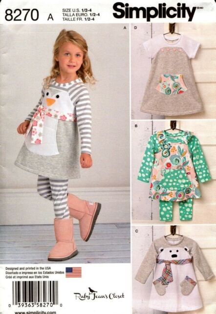 Simplicity Sewing Pattern 8270 Toddler's Knit Dress Tunic Leggings 1/2-4 NEW